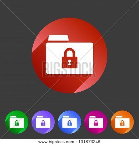 Secure locked folder icon flat web sign symbol logo label set