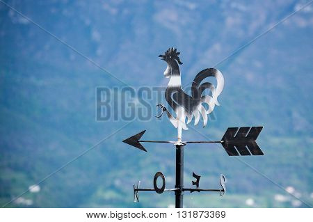 Metal weathervane detail. Black and white rooster over arrow