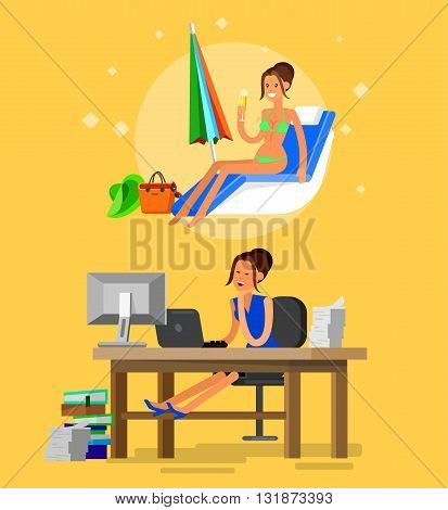 Vector detailed character corporate business worker sitting behind desk and dream about summer beach vacation. Office worker sleeps at work. Cool flat  illustration. Vector business Office worker