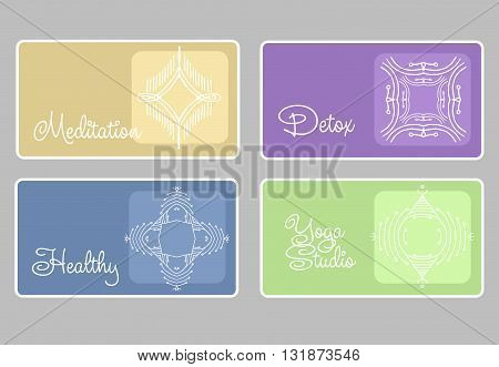 label for healthy life style, detox, meditation, yoga studio. Graphic design elements in outline style for spa center or yoga studio. Linear vector illustration.