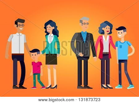 Detailed character people. Stages of life of family, young couple,  first baby, old parents and adult son. Vector family character. Illustration family people