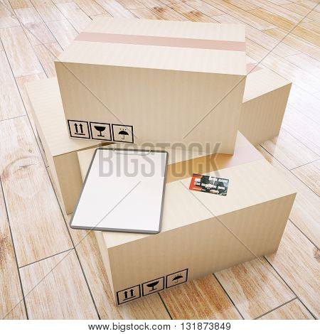 Cardboard boxes with blank clipboard and credit card on wooden floor. Mock up 3D Rendering