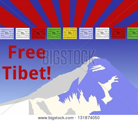 The Himalaya with prayer flags, the wind horse and nepalise letters and the words