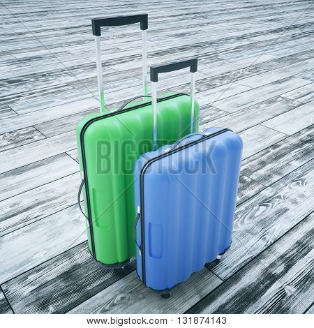 Traveling concept with two suitcases on wooden background. 3D Rendering