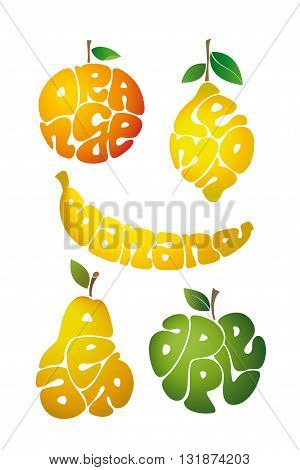 Fruit icon isolated on white background. Lettering. Vector illustration.