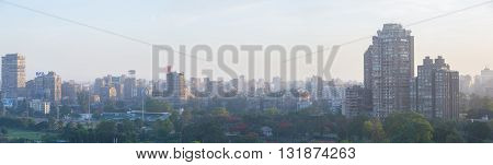 Cairo Egypt - May 22 2016: Panoramic view of central Cairo skyline at dusk view from the island of Zamalek.