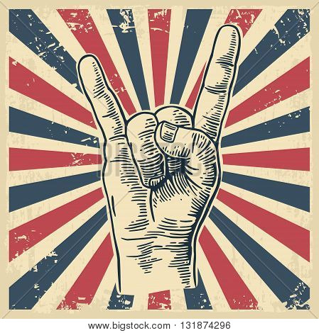 Rock and Roll hand sign. Hand drawn in a graphic style. Vintage vector engraving illustration for info graphic poster web.