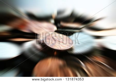 Pennies Zoom Burst close up Stock Photo High Quality