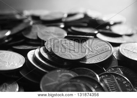 Pennies Black & White Stock Photo High Quality