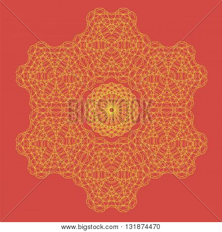 Round Geometric Ornament Isolated on Red Background