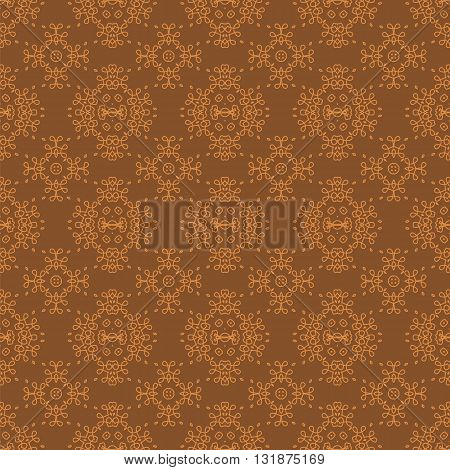 Seamless Texture on Brown. Element for Design. Ornamental Backdrop. Pattern Fill. Ornate Floral Decor for Wallpaper. Traditional Decor on Background