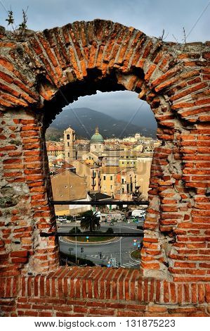 Savona view of the medieval window of the fortress