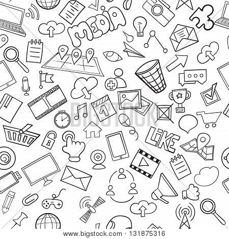 Social media seamless pattern can be used for wallpaper, website background. Doodles hand drawn vector symbols and objects