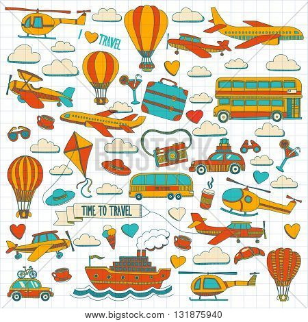 Vector doodle set of travel and transportation Car plane helicopter ballon ship Hand drawn pictures