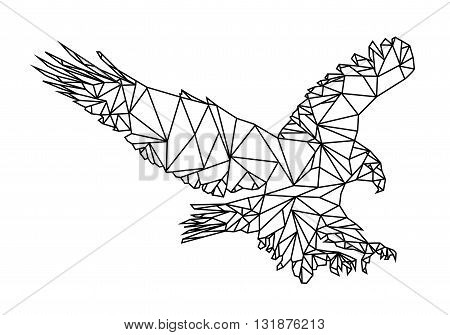 Isolated Low Poly graphic design of an American Eagle or bald Eagle landing. Editable Vector EPS10.