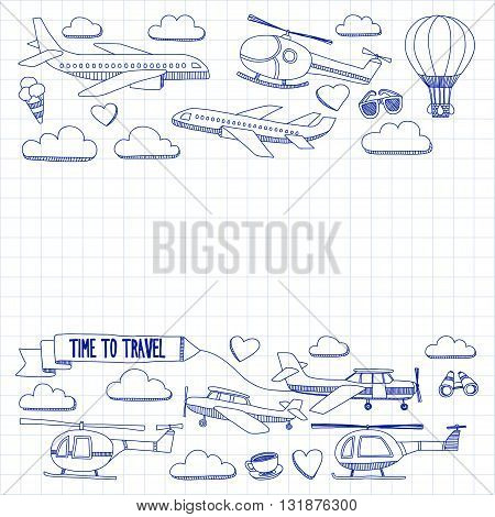 Vector doodle set of travel and transportation plane helicopter ballon ship Hand drawn pictures