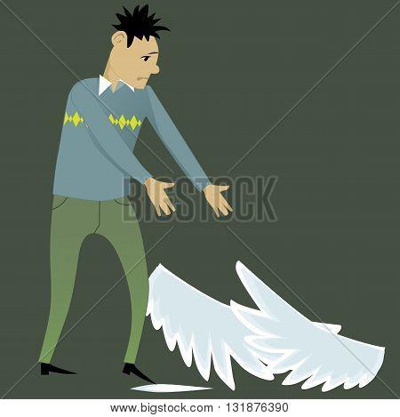 Sad cartoon man reaching to the wings, lying on the ground
