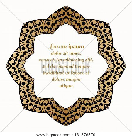 Decorative round element with a gold baroque pattern.