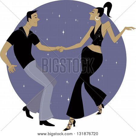 Couple dancing West Coast Swing, EPS8 vector illustration