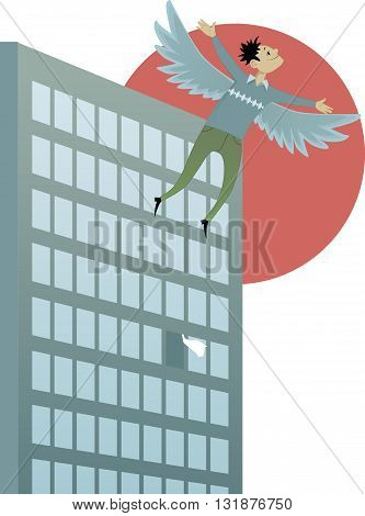 Freedom. Young man with wings flying out from an open window in an office building, vector illustration
