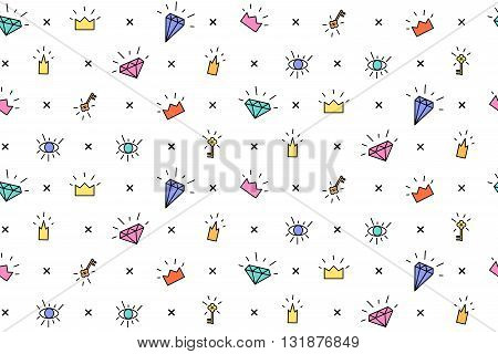 Vector pattern with elements of crowns and diamonds. Background fabric. Hipsters background