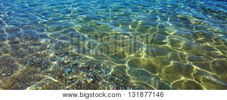 Clear water background, blue natural texture.Shining blue water ripple.