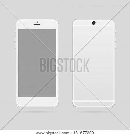 Modern white smartphone mockup vector illustration. Phone mockup.
