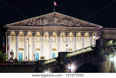 The Bourbon Palace is the place where National Assembly meets. It located on the left bank of the Seine across from the Place de la Concorde.