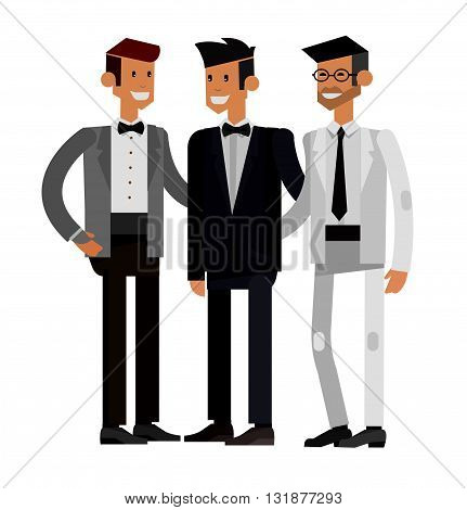 Happy cute wedding groom with best man and friends. Vector wedding detailed character groom with best man, wedding smiling groom with best man. Cool wedding groom with best man flat illustration