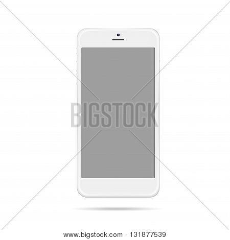 Modern white smart phone mockup vector illustration.