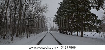Railroad tracks cutting through a snowy landscape as snow falls on the pines that line the tracks and the gravestones in the cemetery next to the tracks.