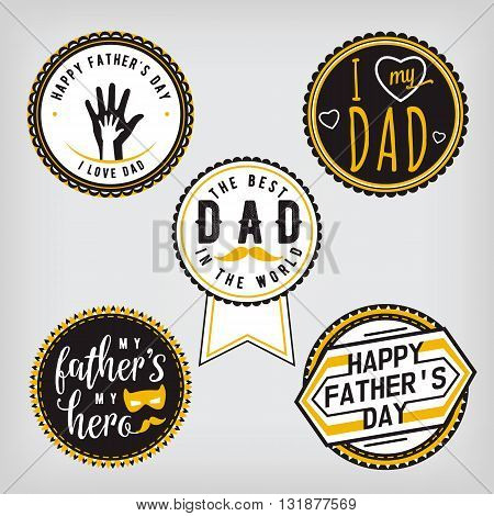 Happy Fathers Day Design gold Collection. Stickers set on light background. Print emblem, badge