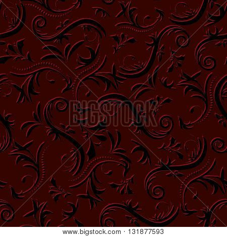 Bulk Vintage Seamless Pattern Of Floral Ornament In Red And Black Tones