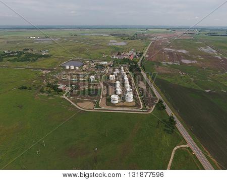 Aerial View Of Oil Storage Tanks