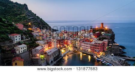 Vernazza (Cinque Terre Italy) at blue hour