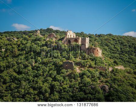 Mountain landscape view of the Montfort Castle in Upper Galilee Israel