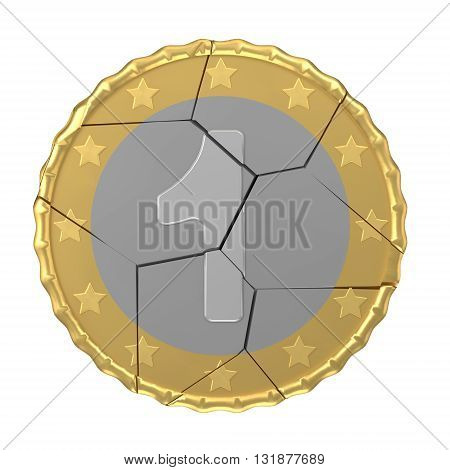 Isolated cracked one coin concept 3d orthographic render