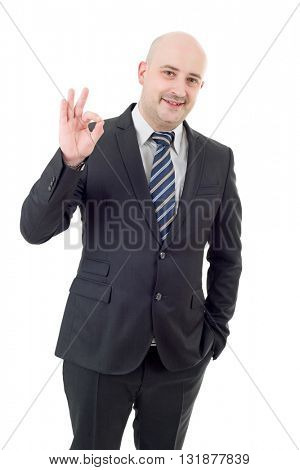 business man winning, isolated on white background