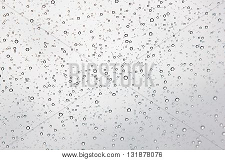 drops on the skylight on a sky background