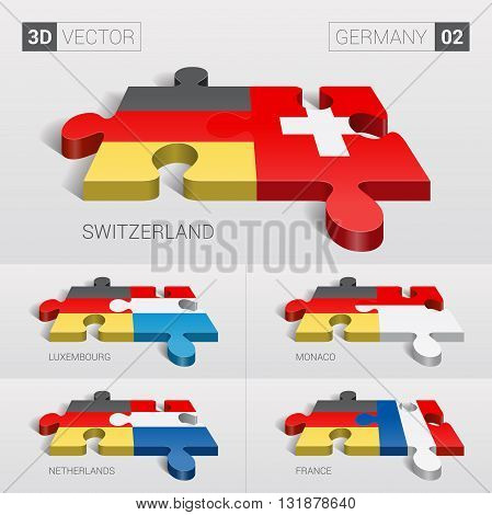 Germany and Switzerland, Luxembourg, Monaco, Netherlands, France Flag. 3d vector puzzle. Set 02.