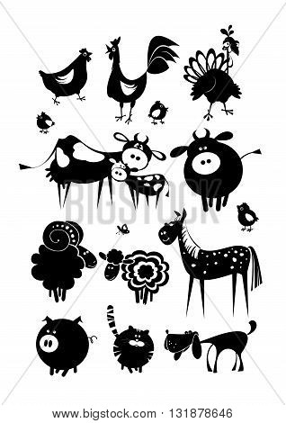 Black silhouettes isolated on white background. Vector icons.