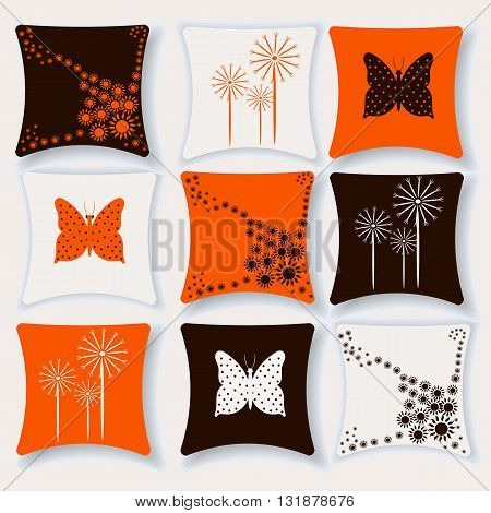 Set of beautiful comfortable cushions for your home decor in chocolate orange and white colors vector illustration