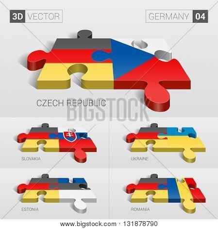 Germany and Czech, Slovakia, Ukraine, Estonia, Romania Flag. 3d vector puzzle. Set 04.