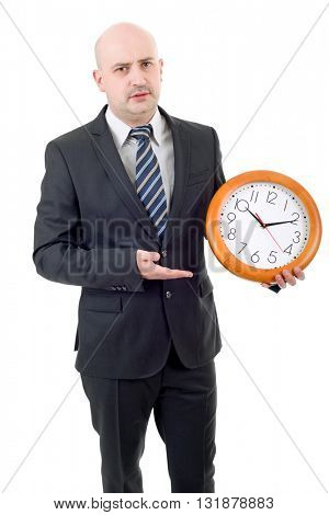 mad businessman with clock isolated over a white background