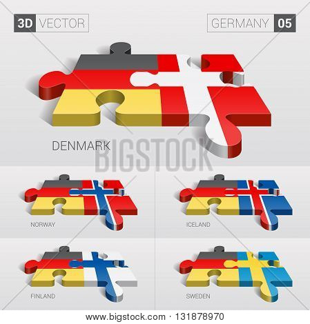 Germany and Denmark, Iceland, Norway, Finland, Sweden Flag. 3d vector puzzle. Set 05.