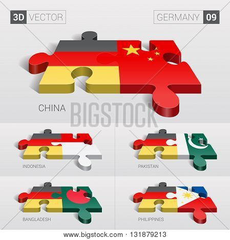 Germany and China, Indonesia, Pakistan, Bangladesh, Philippines Flag. 3d vector puzzle. Set 09.