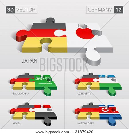 Germany and Japan, Saudi Arabia, Uzbekistan, Yemen, North Korea Flag. 3d vector puzzle. Set 12.