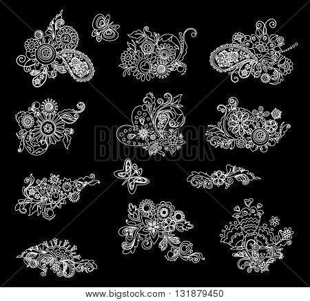 Black and white mhendi design elements