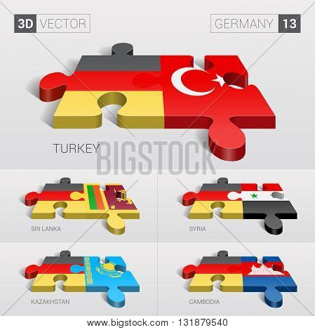 Germany and Turkey, Sri Lanka, Syria, Kazakhstan, Cambodia Flag. 3d vector puzzle. Set 13.