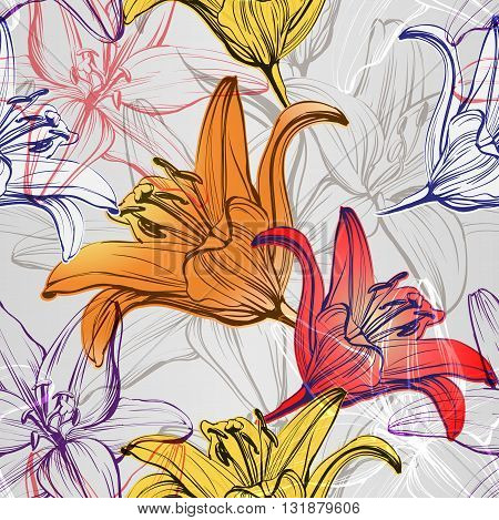 abstract floral blooming lilies background texture hand drawn vector illustration sketch